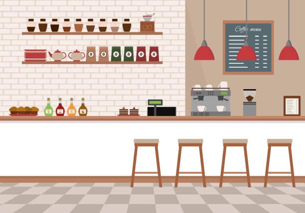 innere leere café. coffee-shop mit weißen bar theke, regale und ausrüstungen. - café stock-grafiken, -clipart, -cartoons und -symbole