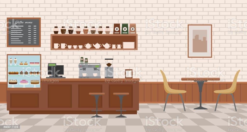 Empty cafe interior. vector art illustration