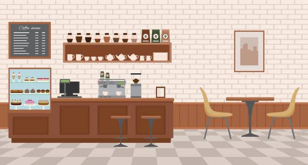 Empty cafe interior. Empty cafe interior. Flat design vector illustration cafe stock illustrations