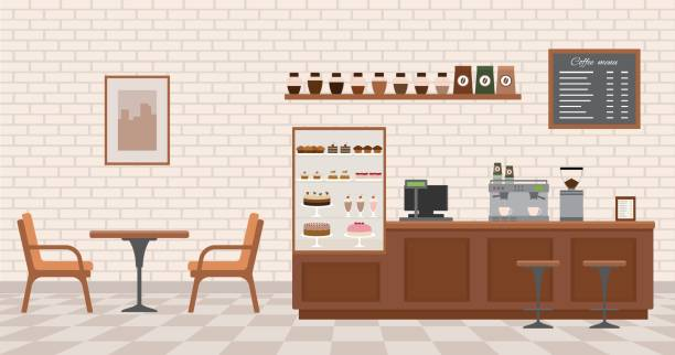 Empty cafe interior. Empty cafe interior. Flat design vector illustration inside of stock illustrations