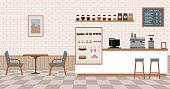 Empty cafe interior. Flat design vector illustration