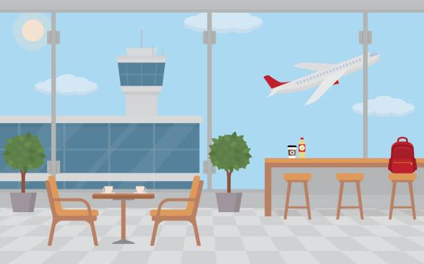 Empty cafe tables in the airport. Empty cafe tables in the airport. Flat style, vector illustration. airport backgrounds stock illustrations