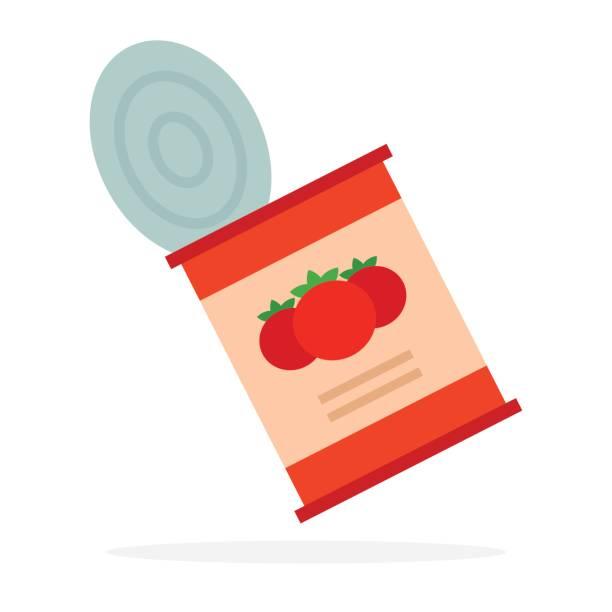Empty can of tomato sauce flat isolated Empty can of tomato sauce vector flat material design isolated on white tomato sauce stock illustrations