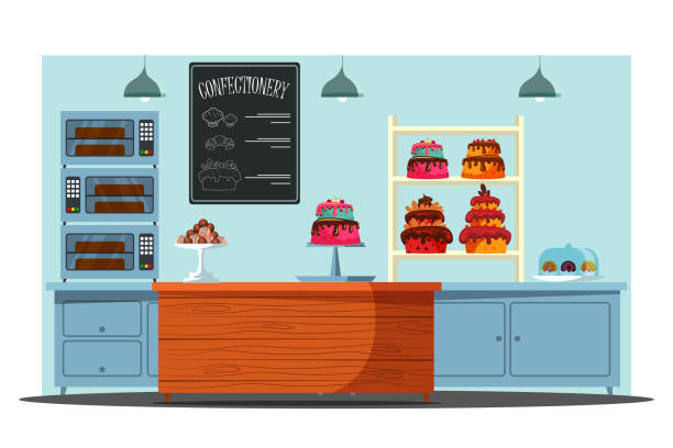 Empty candy store flat vector illustration Empty candy store flat vector illustration. Confectionery with no people, pastry shop interior. Delicious desserts, confection sale business, Cafeteria counter with sweet cakes, cookies and cashbox pastry dough stock illustrations