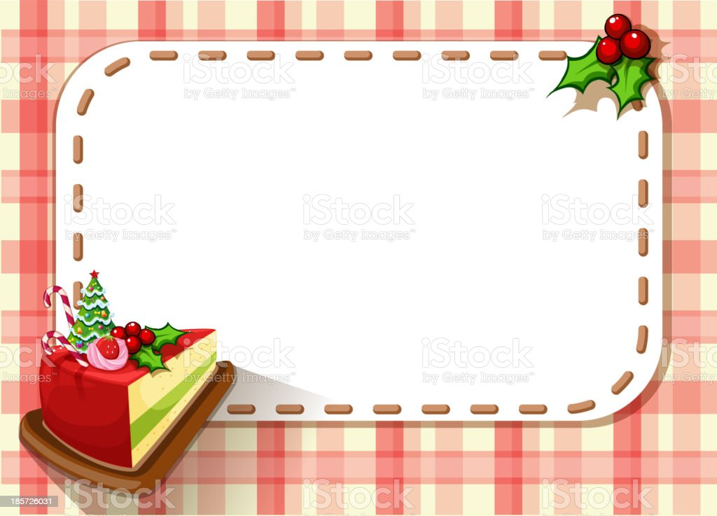 empty card with slice of cake and poinsettia plant royalty-free stock vector art