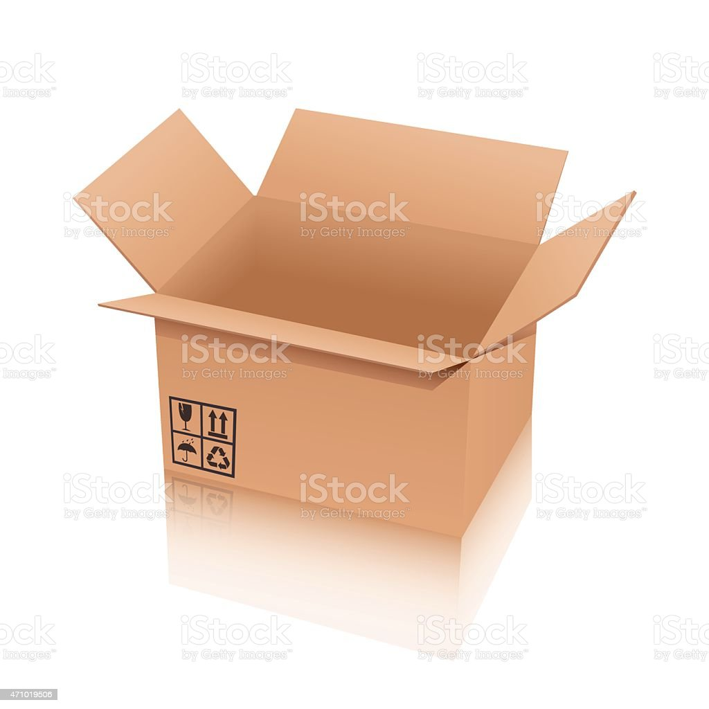 Empty cardboard box vector with open lid and recycle symbol vector art illustration