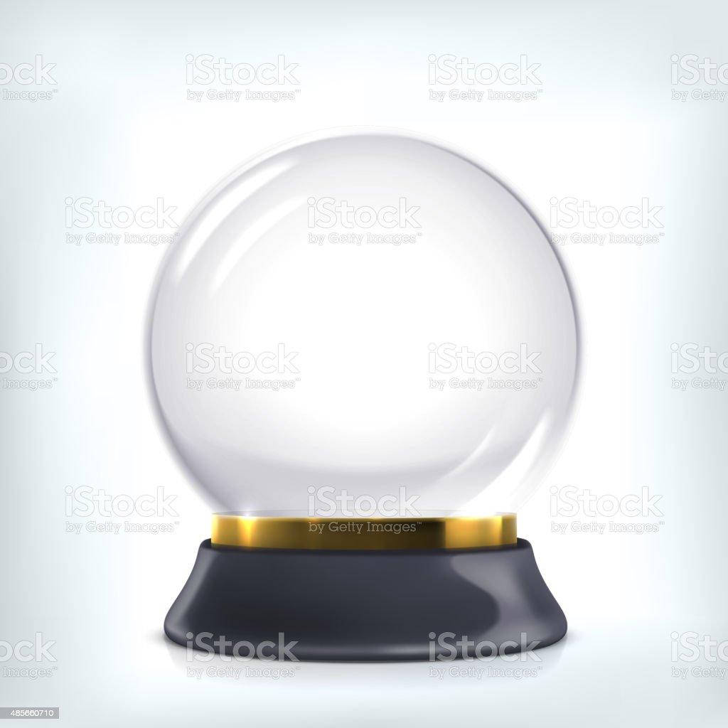 Empty christmas crystal ball. vector art illustration