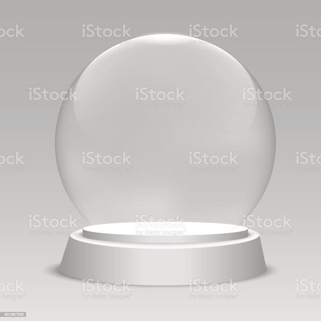 Empty Christmas snow globe on transparent background. Glass sphere. Vector illustration vector art illustration