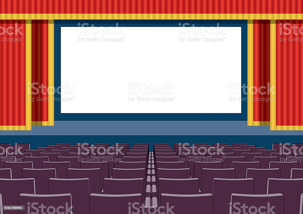 Empty cinema theater blank screen vector art illustration