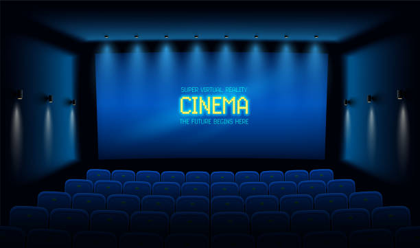stockillustraties, clipart, cartoons en iconen met lege bioscoopzaal met blauw scherm. vector illustratie. - green screen