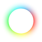 Empty circular space - spectrum circle on white background with copy space
