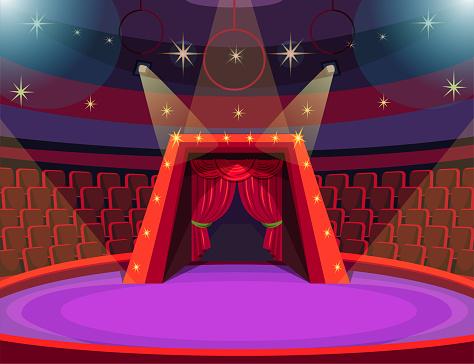 Empty circus arena flat vector illustration