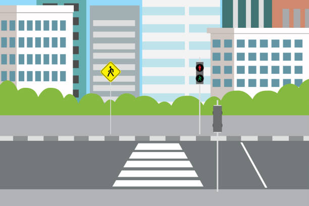 illustrazioni stock, clip art, cartoni animati e icone di tendenza di empty city street with pedestrian crossing and traffic lights, - marciapiede