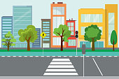 Empty City street,trees and road public,urban life concept,outdoor flat vector illustration