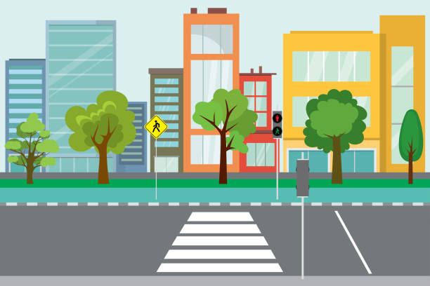 illustrazioni stock, clip art, cartoni animati e icone di tendenza di empty city street,trees and road public - marciapiede
