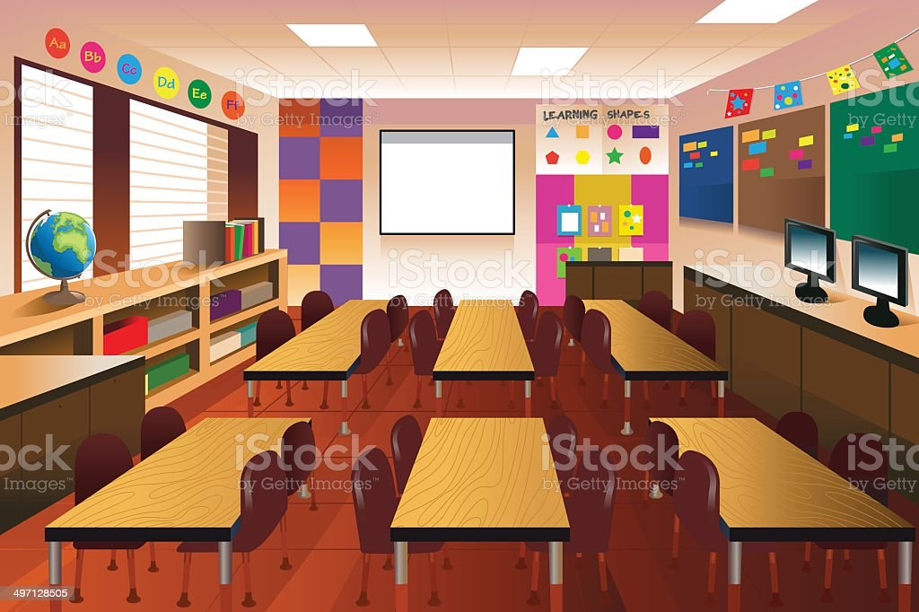 Empty classroom for elementary school vector art illustration