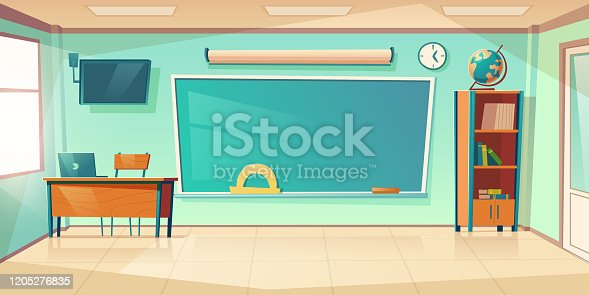 istock Empty classroom interior, school or college class 1205276835
