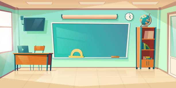 bildbanksillustrationer, clip art samt tecknat material och ikoner med tom klassrum interiör, skola eller college klass - klassrum