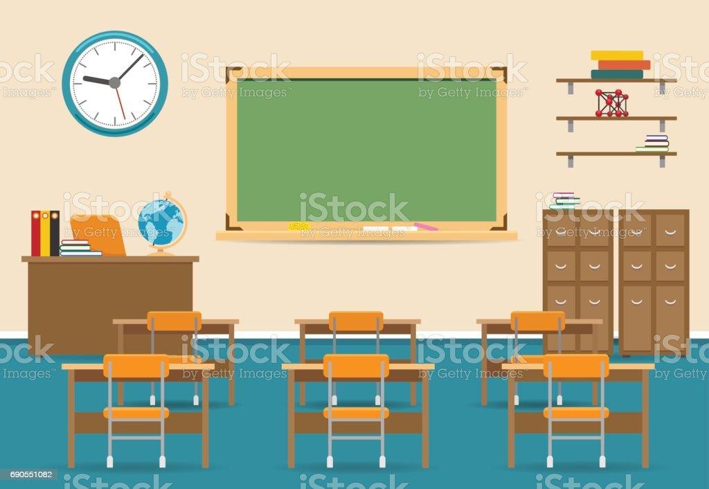 Intérieur de la salle de classe vide avec tableau noir - Illustration vectorielle
