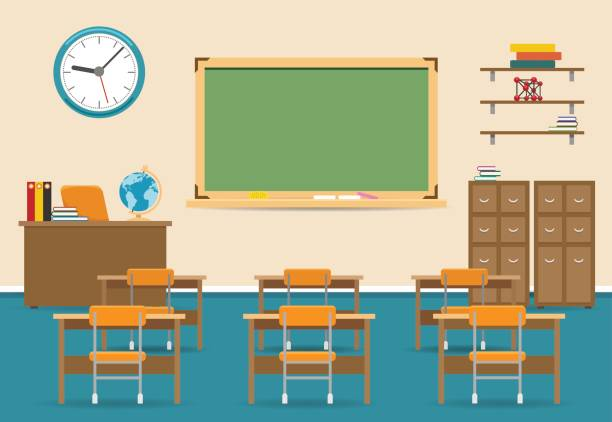 empty classroom interior with blackboard - primary school stock illustrations, clip art, cartoons, & icons