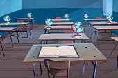 Illustration of an empty classroom with globes on the desks