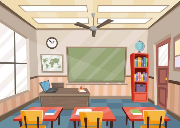 bildbanksillustrationer, clip art samt tecknat material och ikoner med töm klass rummet med bord och stolar - klassrum