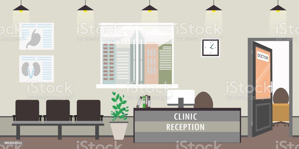 Vacío clínica interiores, modernos muebles de recepción, - ilustración de arte vectorial