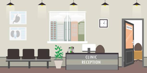 ilustraciones, imágenes clip art, dibujos animados e iconos de stock de vacío clínica interiores, modernos muebles de recepción, - recepcionista