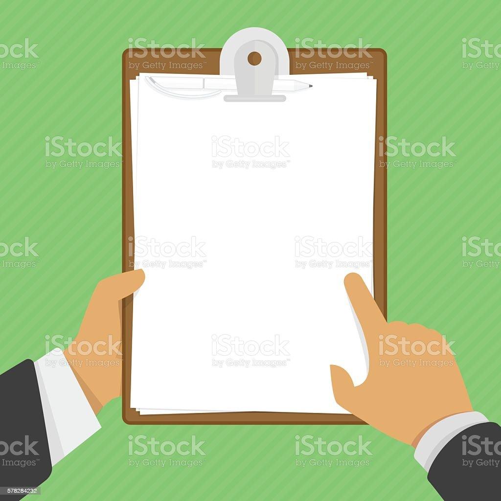 Empty clipboard in hands - Illustration vectorielle