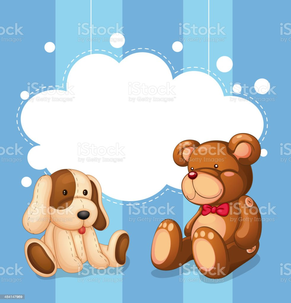 Empty cloud template with stuffed toys royalty-free stock vector art