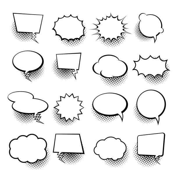 illustrazioni stock, clip art, cartoni animati e icone di tendenza di vuota collezione di fumetti trendy cloud pop art vector comic box. modello di sfondo del libro a fumetti. illustrazione vettoriale - humour