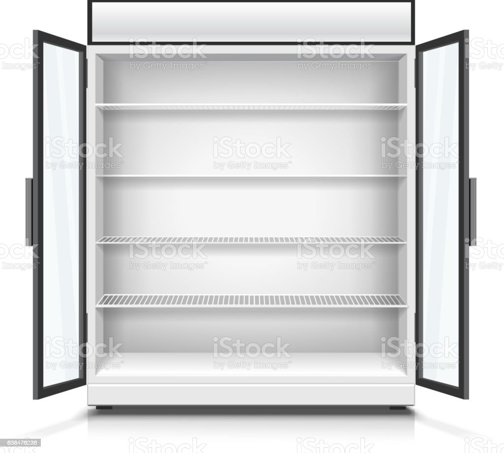Empty commercial fridge with shelves and opened doors. vector art illustration