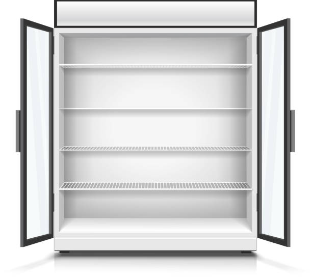empty commercial fridge with shelves and opened doors. - kühlschränke stock-grafiken, -clipart, -cartoons und -symbole