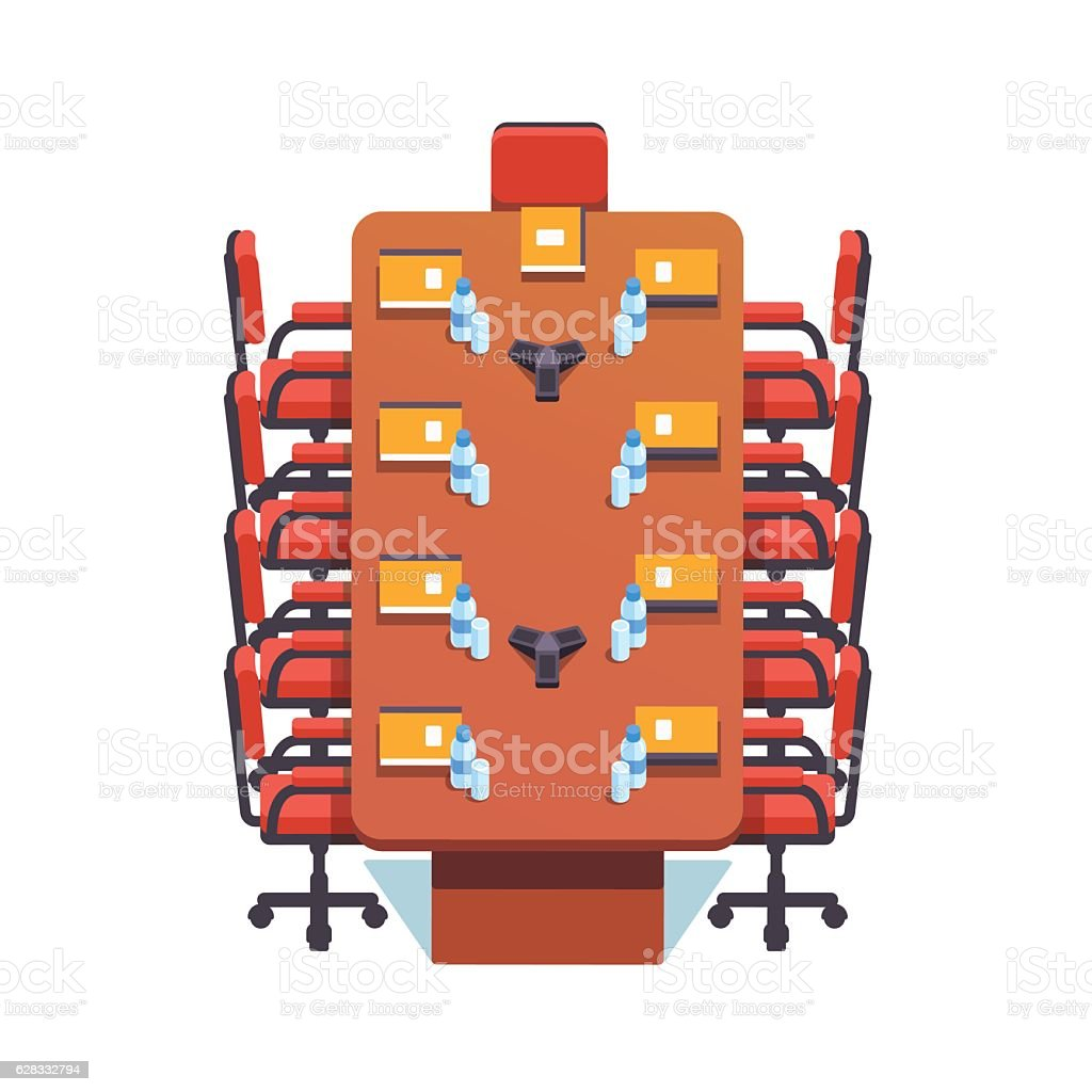 Empty conference room prepared for a meeting vector art illustration