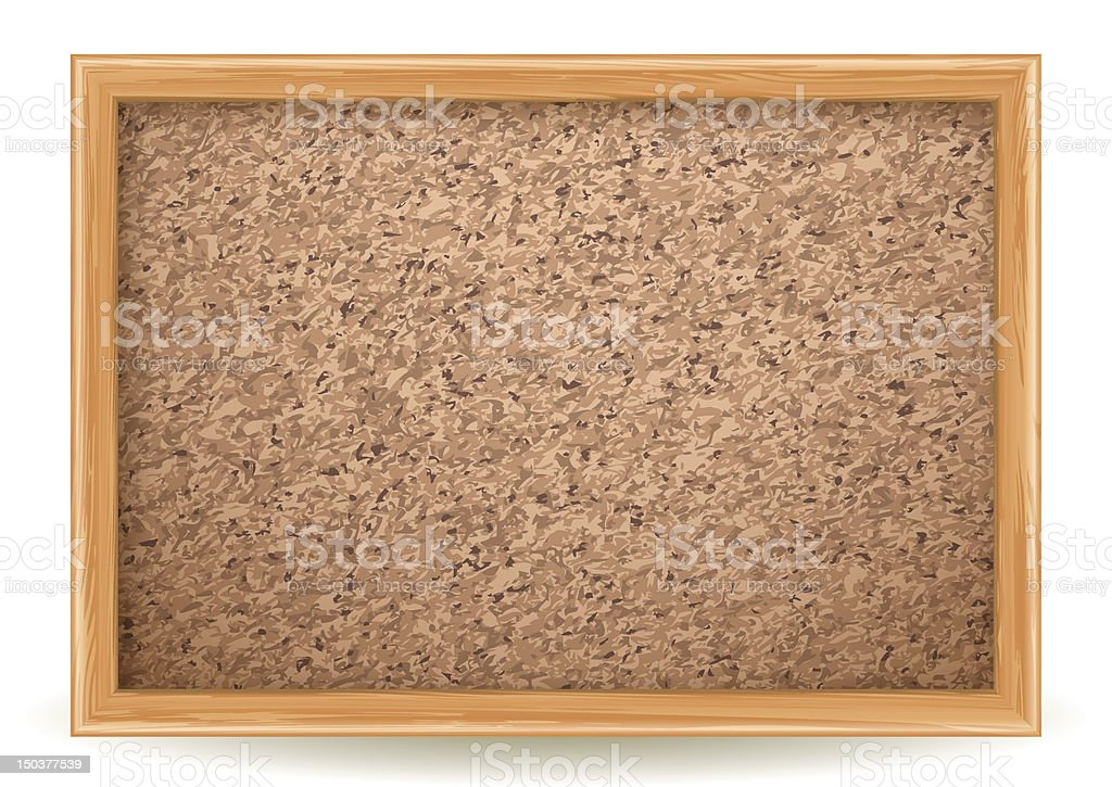 Empty cork board with tan-colored wooden frame vector art illustration