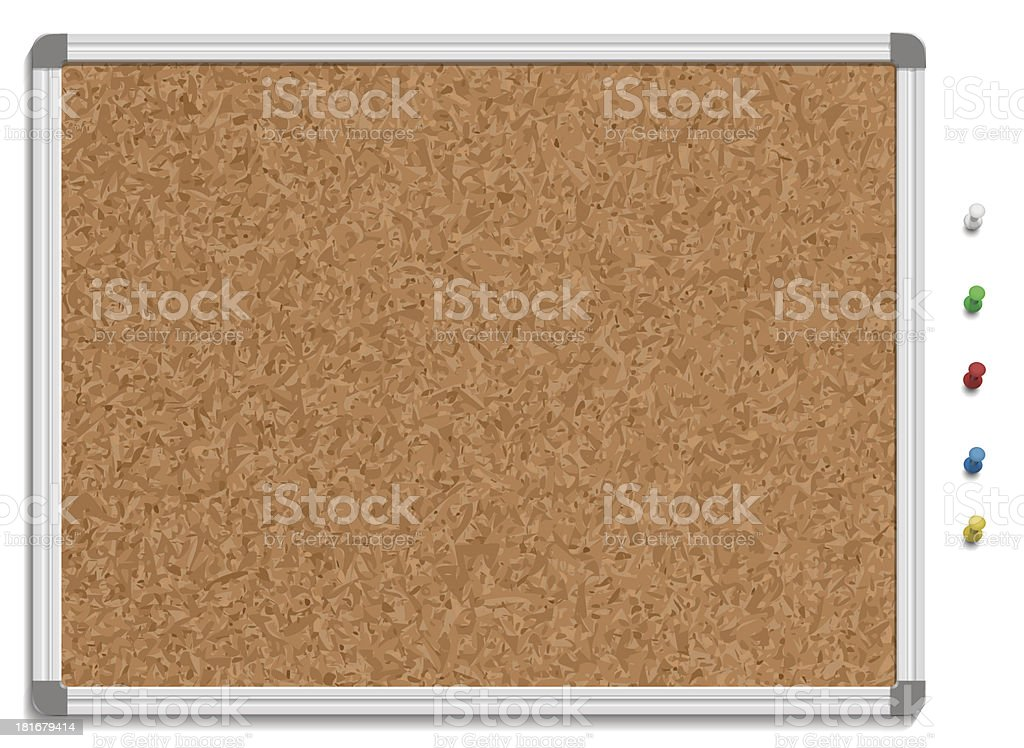 Empty corkboard with colored pins vector art illustration