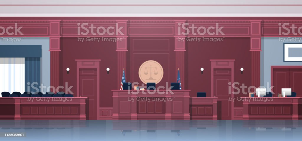 empty courtroom with judge and secretary workplace jury box seats...