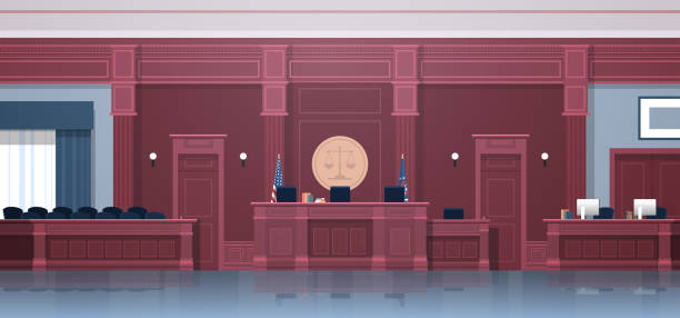 empty courtroom with judge and secretary workplace jury box seats modern courthouse interior justice and jurisprudence concept horizontal empty courtroom with judge and secretary workplace jury box seats modern courthouse interior justice and jurisprudence concept horizontal vector illustration courthouse stock illustrations