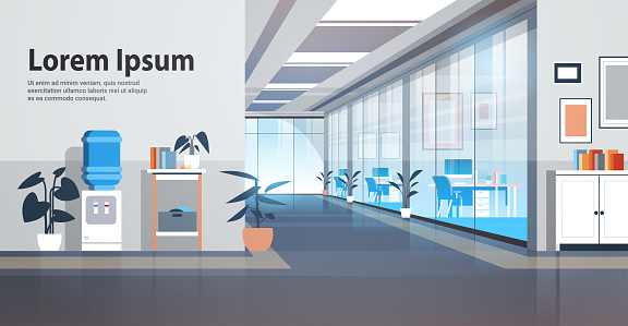 empty coworking area no people open space modern office interior horizontal copy space vector illustration