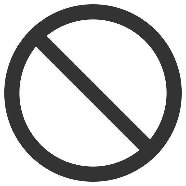 NO SIGN. Empty crossed out black circle. Vector icon NO SIGN. Empty crossed out black circle. Vector icon. exclusion stock illustrations