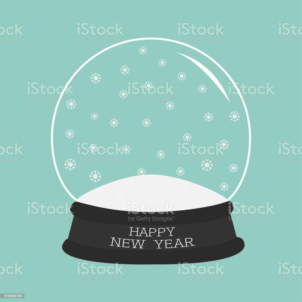 Bola de cristal vacío con nieve. Plantilla. Tarjeta de felicitación de texto plano de feliz año nuevo diseño de fondo azul. - ilustración de arte vectorial