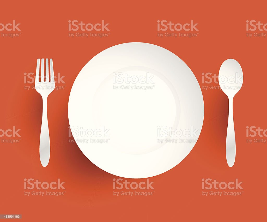 Empty dish, fork and spoon placed alongside. On orange backgroun vector art illustration