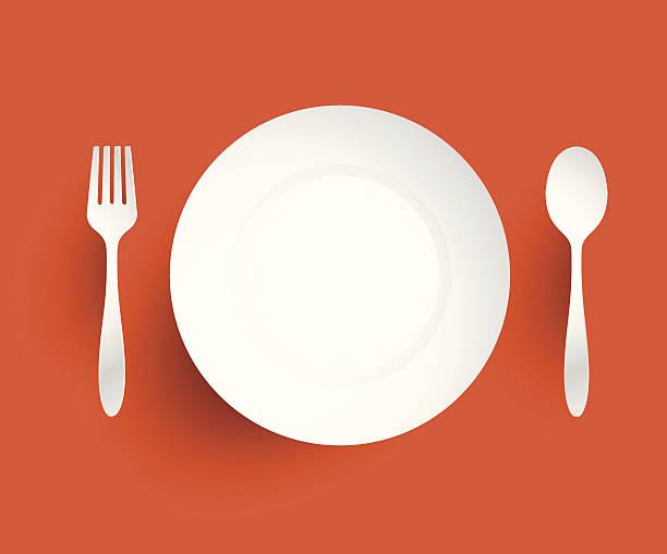 bildbanksillustrationer, clip art samt tecknat material och ikoner med empty dish, fork and spoon placed alongside. on orange backgroun - empty plate