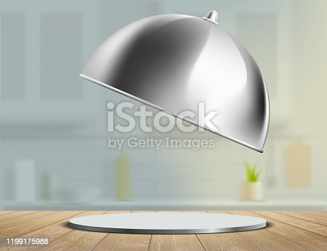istock Empty dish on a wooden kitchen table. Tray blank template 1199175988