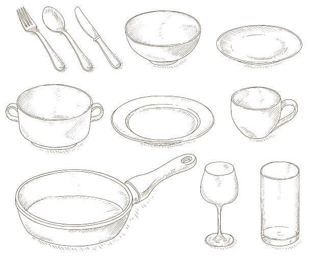 bildbanksillustrationer, clip art samt tecknat material och ikoner med empty dishes set - empty plate