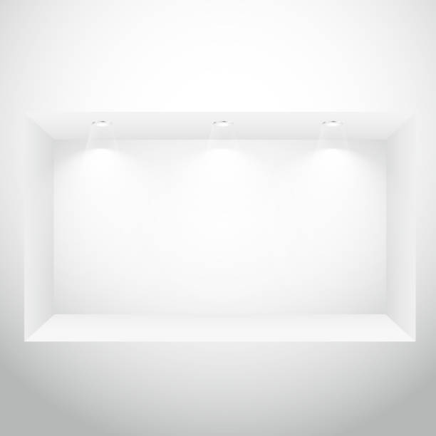 empty display window with spot lights - wystawa sklepowa stock illustrations