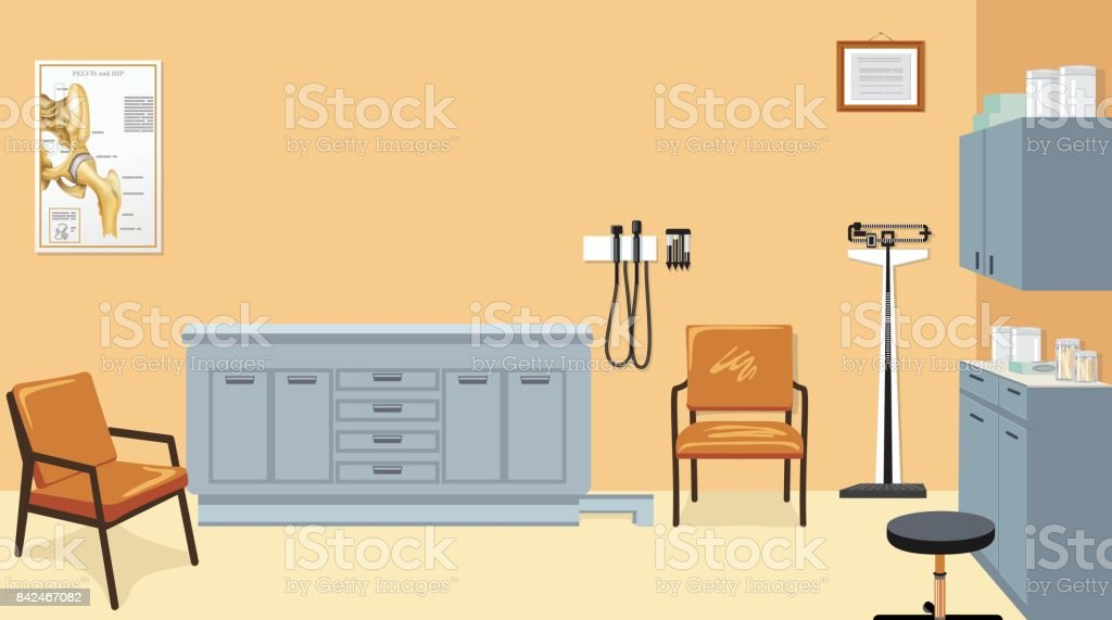 Empty Doctor's Examination Room With Furniture And Equipment vector art illustration