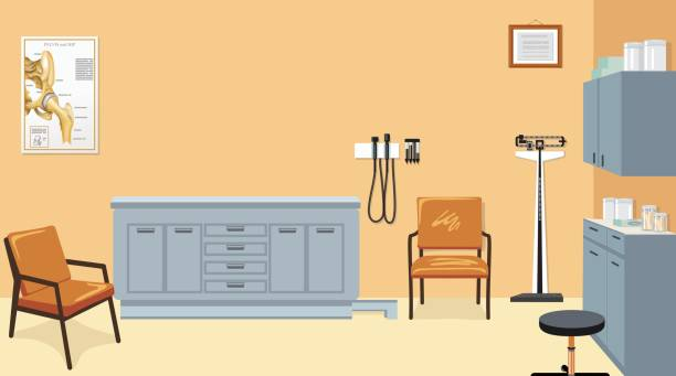 empty doctor's examination room with furniture and equipment - doctors office stock illustrations, clip art, cartoons, & icons