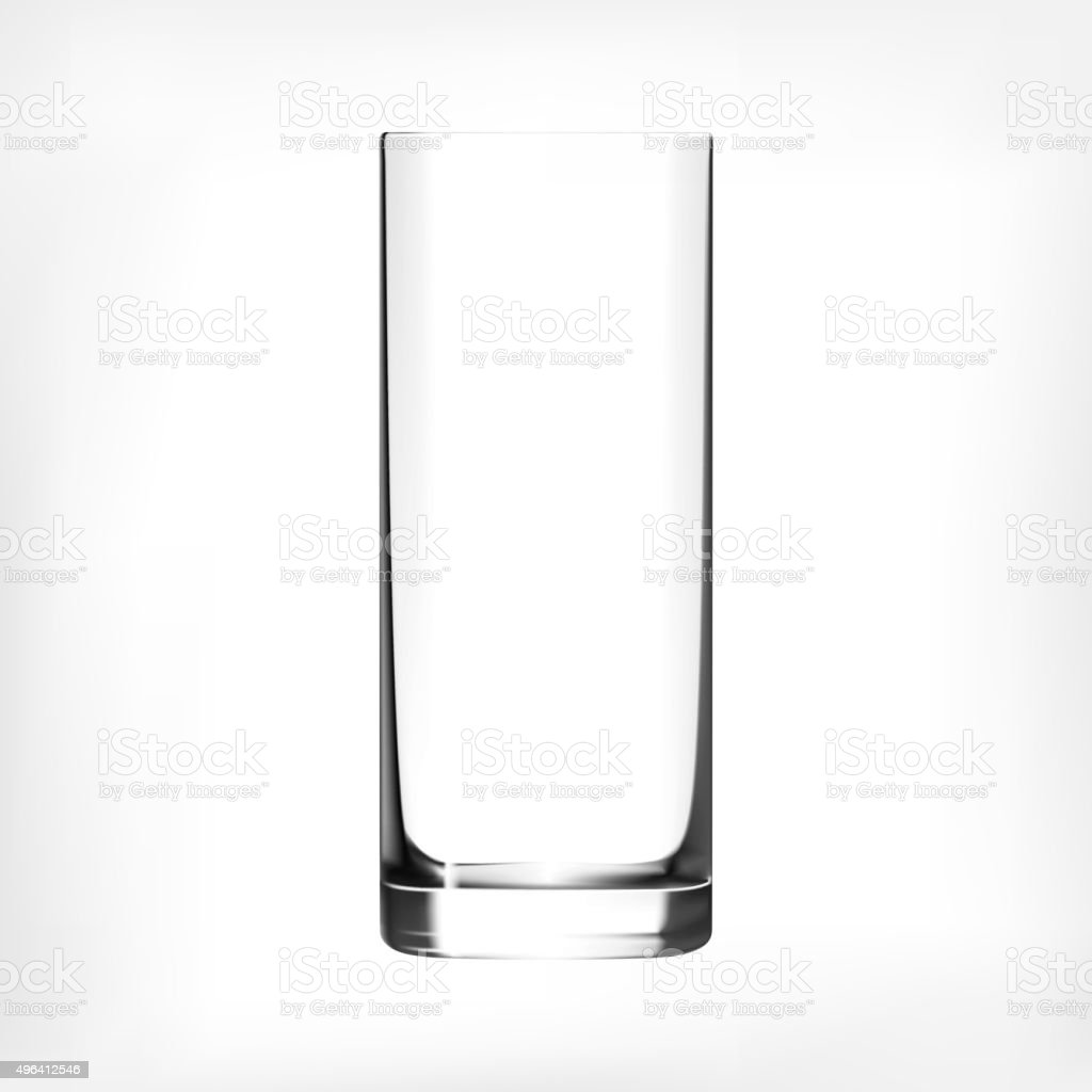 Empty drinking highball glass cup vector art illustration
