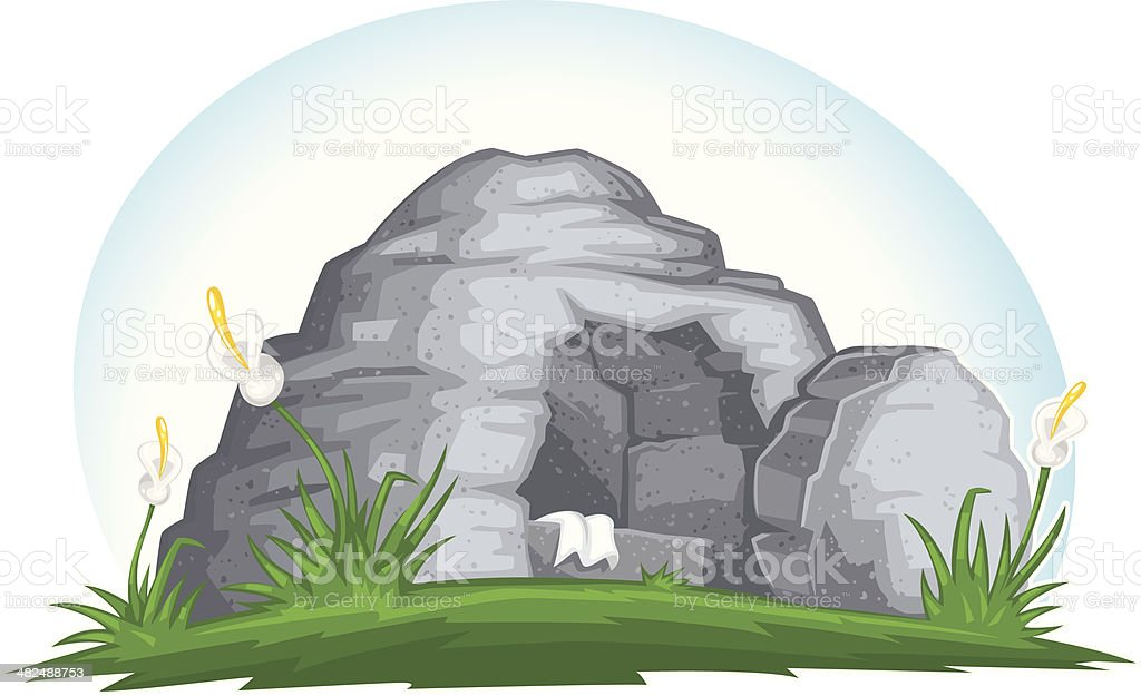 empty easter tomb vector art illustration